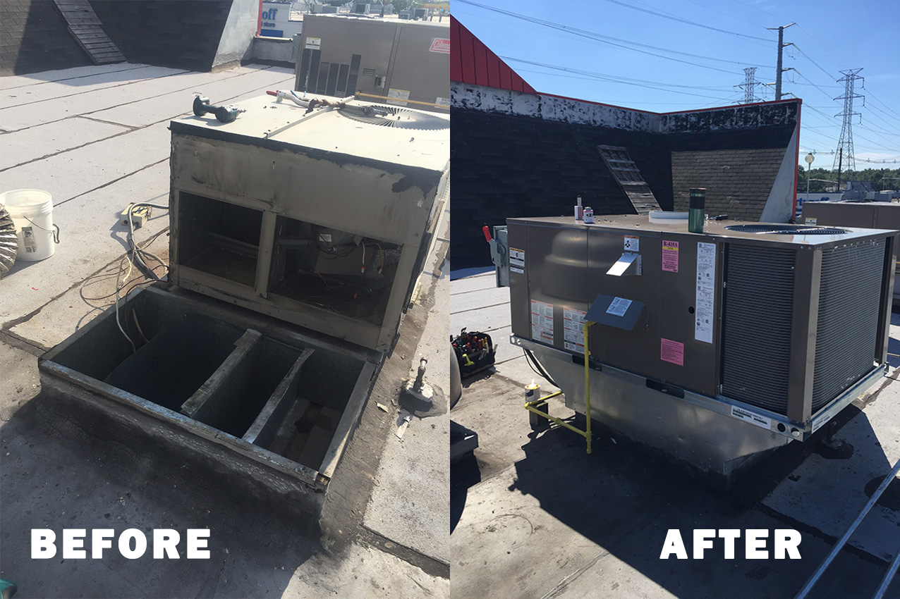 Rooftop Commercial Unit Replacement Before/After
