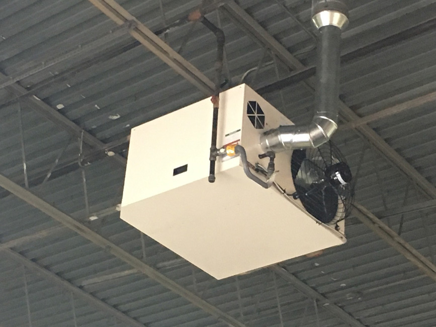Reznor Hanging Heater Install in Warehouse